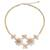 Cultured pearl and rose quartz flower necklace, 'Quintet' - Peach Pearl and Rose Quartz Flower jewellery Necklace (image 2a) thumbail