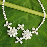 Cultured pearl flower necklace, 'Quintet'