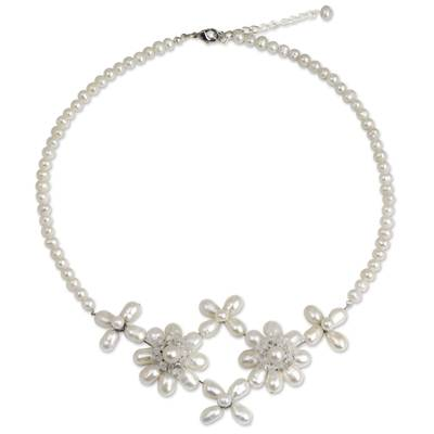 Cultured pearl flower necklace, 'Quintet' - White Pearls and Clear Quartz Flower Necklace