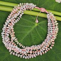 Rose quartz beaded necklace, 'Pink Flow' - Rose Quartz Necklace Handcrafted Jewelry