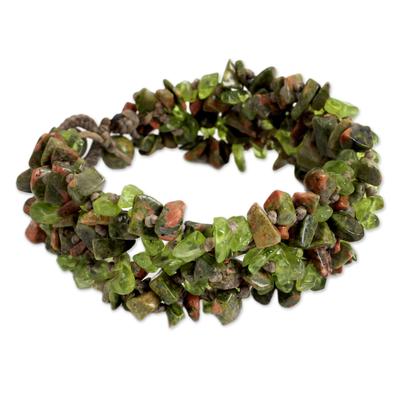 Fair Trade Jewelry Peridot and Unakite Bracelet