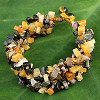 Jasper and smoky quartz beaded bracelet, 'Sunny Glam' - Artisan Crafted Bracelet Jasper Beaded Jewelry