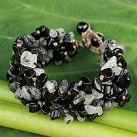 Onyx and tourmalinated quartz beaded bracelet, 'Black Glam' - Artisan Crafted Onyx & Tourmalinated Quartz Beaded Bracelet