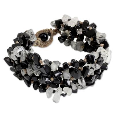 Artisan Crafted Onyx & Tourmalinated Quartz Beaded Bracelet