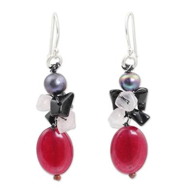 Handmade Thai Pearl and Gems Cluster Earrings