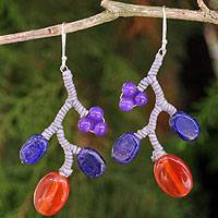 Lapis lazuli and carnelian beaded earrings, 'Blue Coral' - Multi Gemstone Handcrafted Earrings