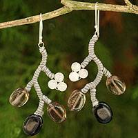 Smoky quartz and onyx beaded earrings, 'Gray Coral' - Unique Handcrafted Onyx and Smoky Quartz Dangle Earrings