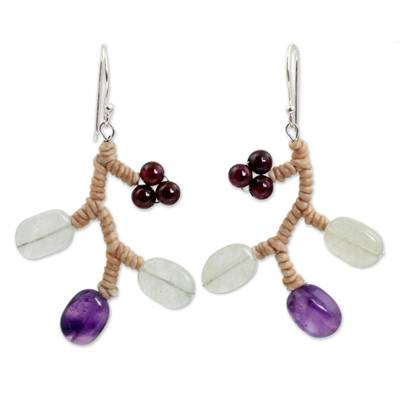 Handcrafted Aventurine and Amethyst Beaded Earrings