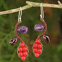 Amethyst and garnet beaded earrings, 'Sweet Red Ivy' - Fair Trade Beaded Earrings Jewelry