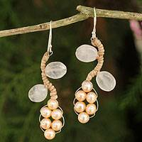 Cultured pearl and rose quartz beaded earrings, 'Sweet Peach Ivy' - Handcrafted Jewelry Pearl and Rose Quartz Earrings