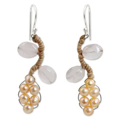 Handcrafted Jewelry Pearl and Rose Quartz Earrings