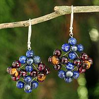 Lapis lazuli and garnet dangle earrings, 'Nosegay'