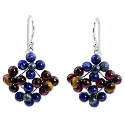 Lapis lazuli and garnet dangle earrings, 'Nosegay' - Hand Made Lapis Lazuli and Garnet Dangle Earrings