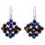 Lapis lazuli and garnet dangle earrings, 'Nosegay' - Hand Made Lapis Lazuli and Garnet Dangle Earrings thumbail