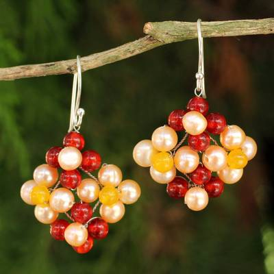 Cultured pearl and carnelian dangle earrings, 'Nosegay' - Hand Made Pearl and Carnelian Dangle Earrings