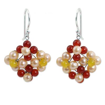 Hand Made Pearl and Carnelian Dangle Earrings