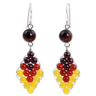 Thai Carnelian and Yellow Quartz Earrings with Garnet