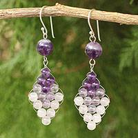 Amethyst and quartz dangle earrings, 'Seasonal Bloom' - Thai Amethyst and Quartz Earrings