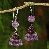 Amethyst and garnet dangle earrings, 'Falling Leaves' - Hand Crafted Thai Amethyst and Garnet Dangle Earrings