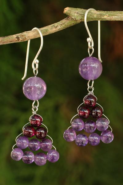 Novica Garnet and amethyst dangle earrings, Crystal Melody