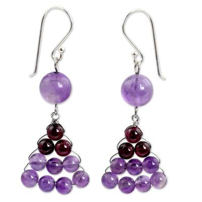 Hand Crafted Thai Amethyst and Garnet Dangle Earrings