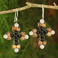 Jasper and onyx dangle earrings, 'Precious Cross' - Thai Jasper and Onyx Beaded Cross Earrings
