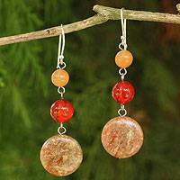 Jasper and carnelian dangle earrings, 'Polished Petals' - Unique Thai Jasper and Carnelian Earrings