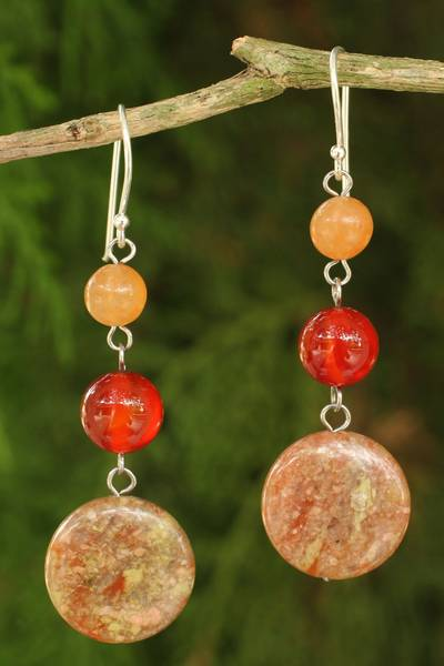 Jasper and carnelian dangle earrings, 'Polished Petals' - Unique Thai Jasper and Carnelian Earrings