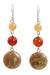 Jasper and carnelian dangle earrings, 'Polished Petals' - Unique Thai Jasper and Carnelian Earrings thumbail