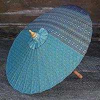 Cotton parasol, 'Blue Thai Empress' - Cotton and Bamboo Parasol with All Over Design in Blue
