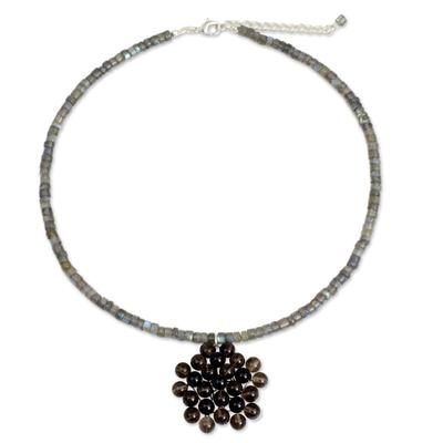 Labradorite and smoky quartz pendant necklace, 'Dusk Garden' - Handmade Thai Labradorite Beaded Pendant Necklace