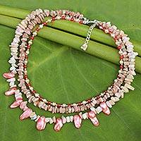 Cultured pearl and opal beaded necklace, 'Rose Glow' - Handcrafted Pink Baroque Pearl and Opal Beaded Necklace