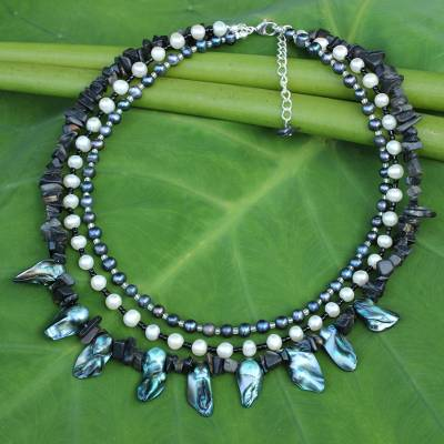 Novica Cultured pearl beaded necklace, Aqua Glow
