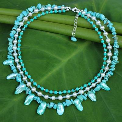 Cultured pearl beaded necklace, 'Aqua Glow' - Handcrafted Baroque Pearl and Calcite Beaded Necklace