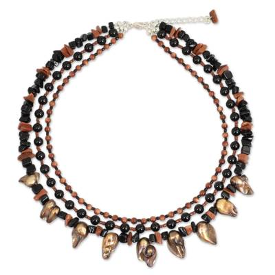 Handcrafted Baroque Pearl and Onyx Beaded Necklace