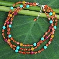 Carnelian beaded necklace, 'Sun Shower' - Carnelian Three Strand Necklace Handcrafted Jewelry