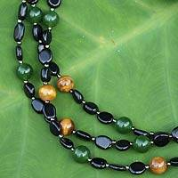 Onyx and tiger's eye beaded necklace, 'Confetti Glam' - Onyx Tiger's Eye and Quartz Three Strand Beaded Necklace
