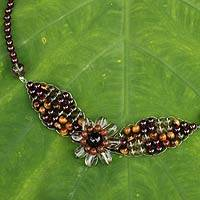 Garnet and smoky quartz pendant necklace, 'Floral Solitaire' - Beaded Garnet and Tiger's Eye Flower Necklace