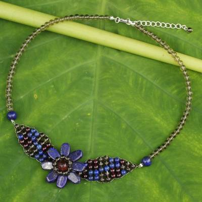 Lapis lazuli and garnet pendant necklace, 'Floral Solitaire' - Beaded Smoky Quartz and Lapis Lazuli Flower Necklace