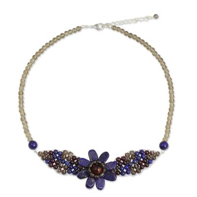 Lapis lazuli and garnet pendant necklace, 'Floral Solitaire' - Beaded Garnet and Lapis Lazuli Flower Necklace
