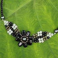 Onyx and quartz pendant necklace, 'Floral Solitaire' - Beaded Onyx and Quartz Flower Necklace