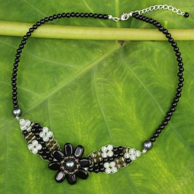 Quartz and cultured pearl beaded pendant necklace, 'Floral Solitaire' - Beaded Onyx and Quartz Flower Necklace
