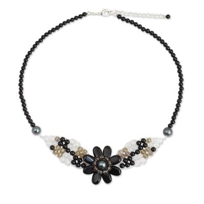 Beaded Onyx and Quartz Flower Necklace
