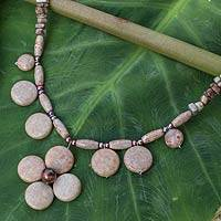 Jasper and cultured pearl pendant necklace, 'Polished Petals' - Unique Thai Pearl and Jasper Necklace