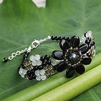 Onyx and smoky quartz beaded bracelet, 'Floral Solitaire' - Beaded Onyx and Smoky Quartz Flower Bracelet