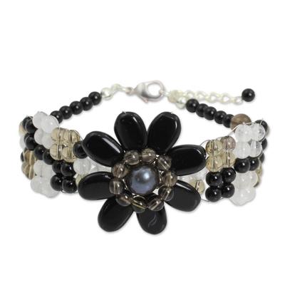 Beaded Onyx and Smoky Quartz Flower Bracelet