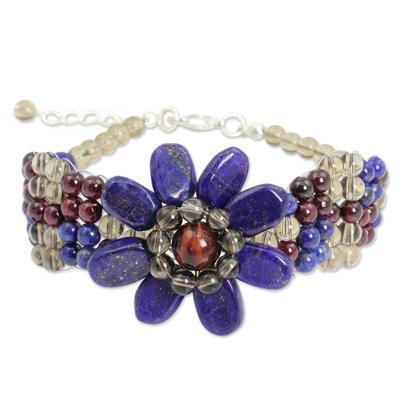 Lapis lazuli and garnet beaded bracelet, 'Floral Solitaire' - Beaded Smoky Quartz and Lapis Lazuli Flower Bracelet