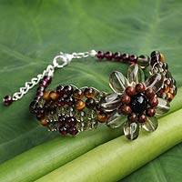 Garnet and smoky quartz beaded bracelet, 'Floral Solitaire' - Beaded Garnet and Tiger's Eye Flower Bracelet