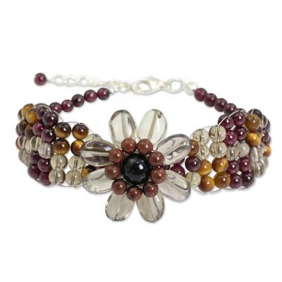 Garnet and smoky quartz beaded bracelet, 'Floral Solitaire' - Beaded Garnet and Tiger's Eye Flower Bracelet