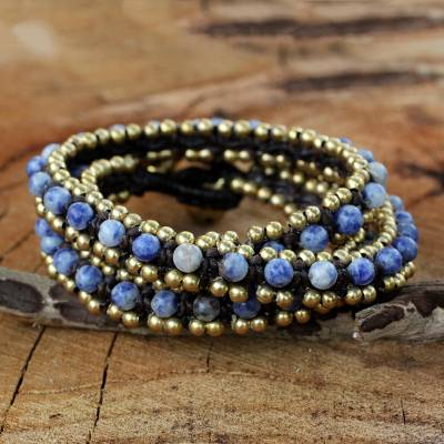 Sodalite wrap bracelet, 'Happiness and Joy' - Hand Knotted Thai Sodalite Bracelet with Brass Beads